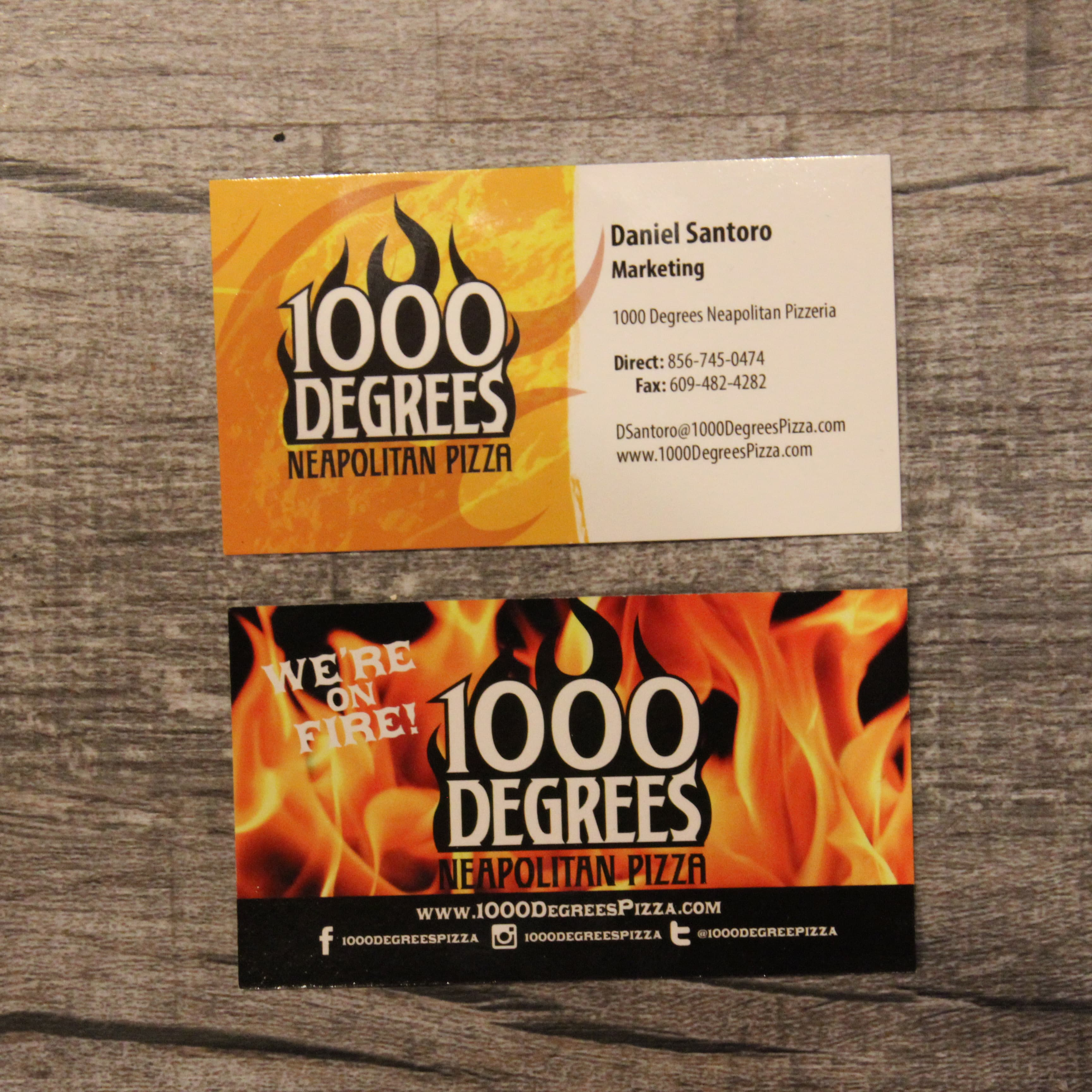 1000 Degrees Business cards - 1000 Degrees Pizza Franchise